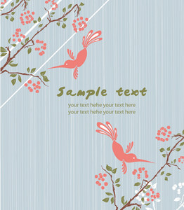 Vector Vintage Floral Background With Birds