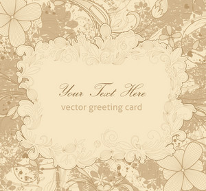 Vector Vintage Floral Background With Rays