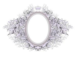 Vector Vintage Floral Frame With Crown