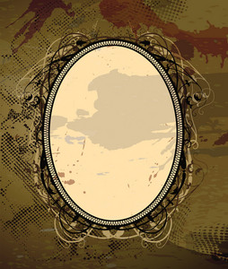 Vector Vintage Floral Frame With Grunge Background