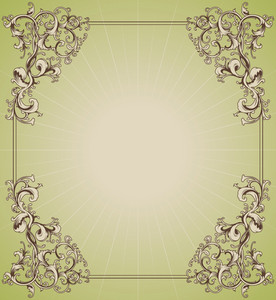 Vector Vintage Floral Frame With Rays Background