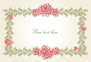 Vector Vintage Floral Frame With Roses