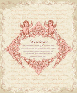 Vector Vintage Frame With Angels