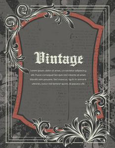 Vector Vintage Frame With Engraved Floral