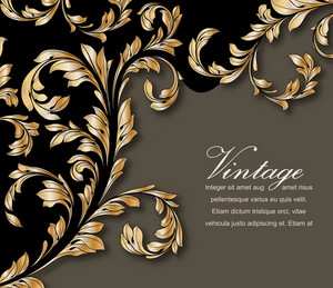 Vector Vintage Gold Floral Background