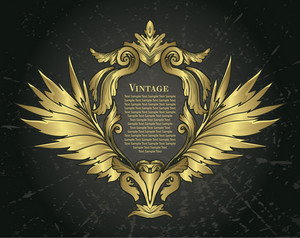 Vector Vintage Gold Floral Frame With Wings