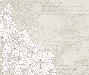 Vector Vintage Grunge Floral Background