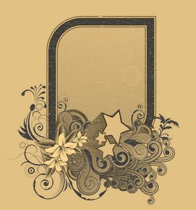 Vector Vintage Grunge Floral Frame