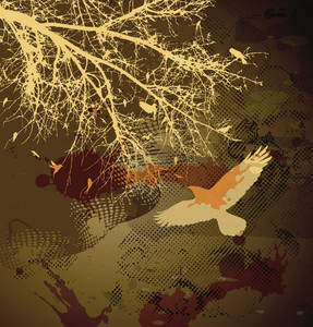 Vector Vintage Illustration With Birds On A Branch