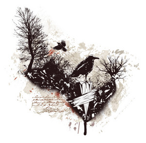 Vector Vintage Illustration With Ravens