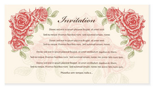 Vector Vintage Invitation With Roses