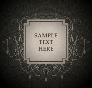 Vector Vintage Label With Damask Background
