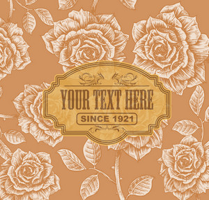 Vector Vintage Label With Floral Background