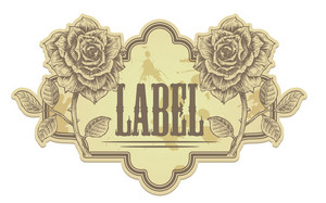 Vector Vintage Label With Roses