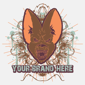 Vector Vintage T-shirt Design With Bat Head
