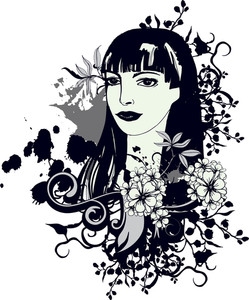 Vector Vintage T-shirt Design With Girl