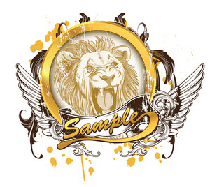 Vector Vintage T-shirt Design With Lion