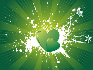 Vector Wallpaper Of Gradient Green Hearts