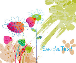 Vector Watercolor Floral Background