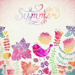 "Vector Watercolor Floral Greeting Card With ""summer"" Lettering. Vintage Retro Background With Floral Ornament You Can Design Cards"