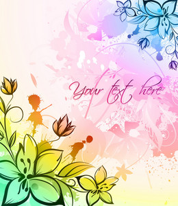 Vector Watercolor Floral With Splash
