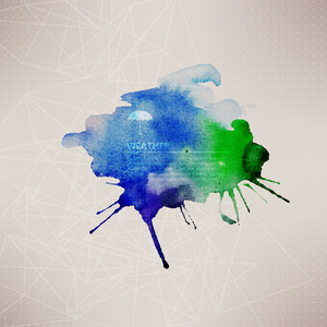 Vector Watercolor Texture. Blue Grunge Paper Template. Water. Wet Paper. Blobs