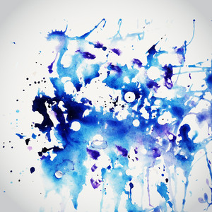 Vector Watercolor Texture. Blue Grunge Paper Template. Water. Wet Paper. Blobs