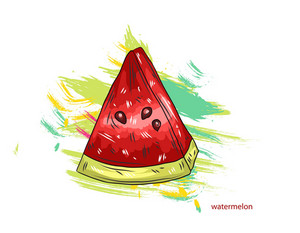 Vector Watermelon With Colorful Splashes