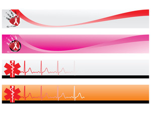 Vector Web 2.0 Banner With Medical Medical Sign Set 6