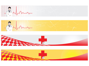 Vector Web 2.0 Banner With Medical Medical Sign Set 8