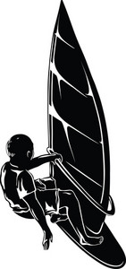 Vector Wind Surfer Silhouette