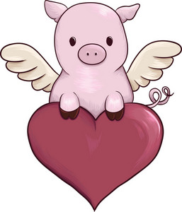 Vector Winged Little Pig