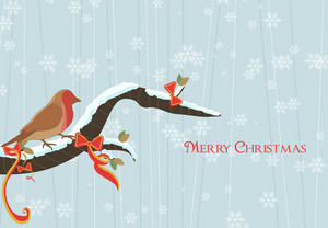 Vector Winter Background With Bird