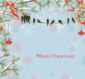 Vector Winter Background With Birds