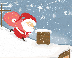 Vector Winter Background With Santa