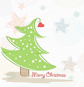 Vector Winter Background With Tree