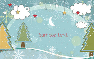 Vector Winter Background With Trees