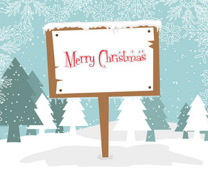 Vector Winter Background With Wood Sign