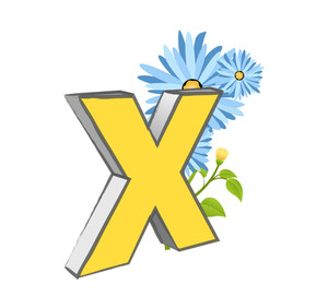 Vector X Alphabet With Flower
