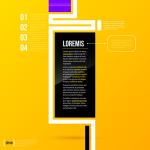 Vertical Text Frame Template On Bright Yellow Background In Modern Corporate Style. Eps10
