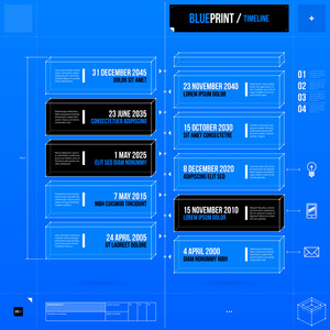 Vertical Timeline Template In Blueprint Style. Eps10