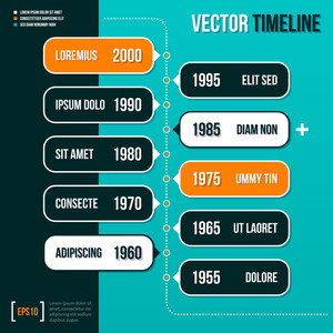 Vertical Vector Timeline Template On Turquoise Background. Eps10