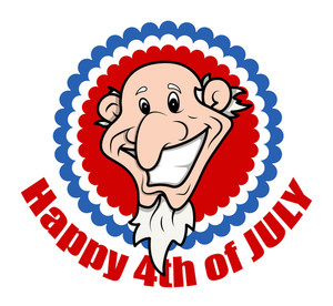 Very Funny Bald Uncle Sam 4th Of July Vector Illustration