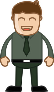 Very Happy Man In Office - Business Cartoon Character Vector