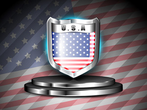 Vestor Glossy Shield With American Flag
