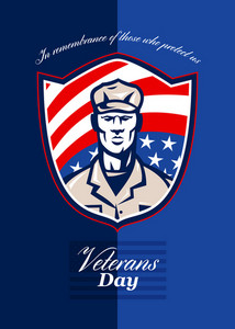 Veterans Day Modern Soldier Greeting Card Retro
