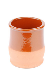 Vibrant Orange Ceramic Planting Pot On White