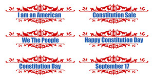 Victorian Style Greeting Text  Constitution Day Vector Illustration