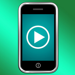 Video Play Sign On Mobile For Playing Media On Phone