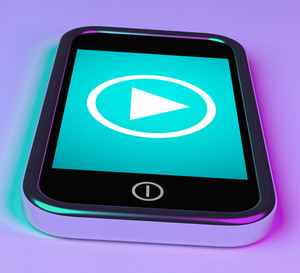 Video Play Sign On Mobile Phone For Playing Media